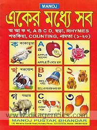Manoj ekera madhye saba :  a a ka kha, a b c d, chara, rhymes, stakiya, counting, namata (1-20).